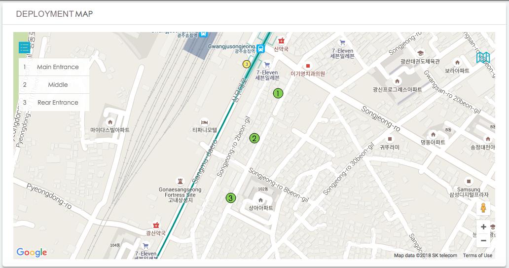 Beer Festival Deployment Map, Screenshot from LBASense Dashboard