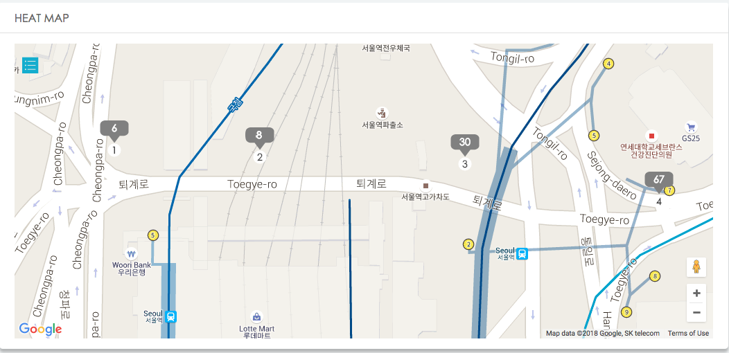 Screenshot from the LBASense Dashboard showing real-time (minute resolution) Crowd Analytics from 4 sensors (numbered from 1 to 4) along the popular touristic Seoullo 7017 bridge in Seoul, Korea, in April 2018.